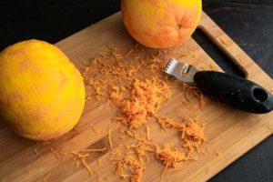 Zesting the oranges