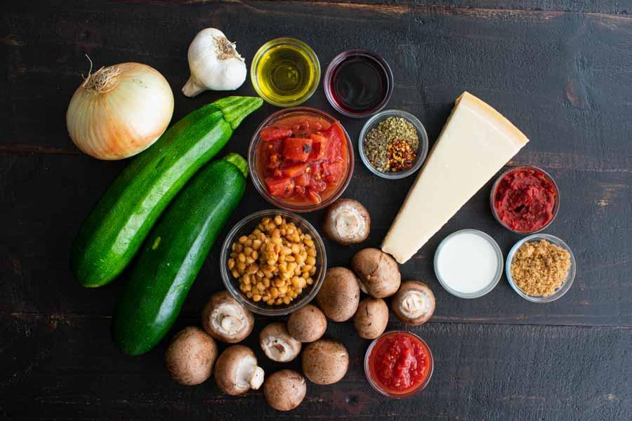 Lentil Bolognese Ingredinets