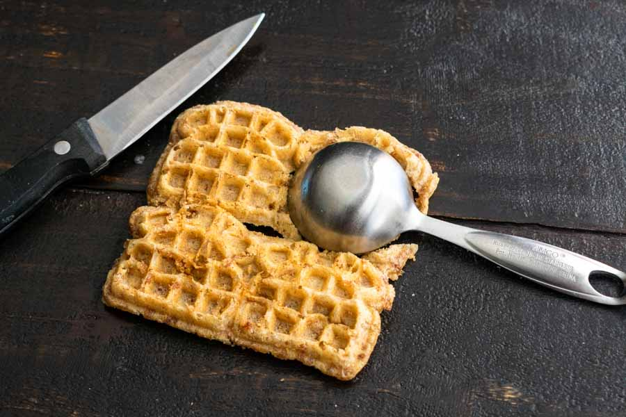 Cutting out a waffle garnish