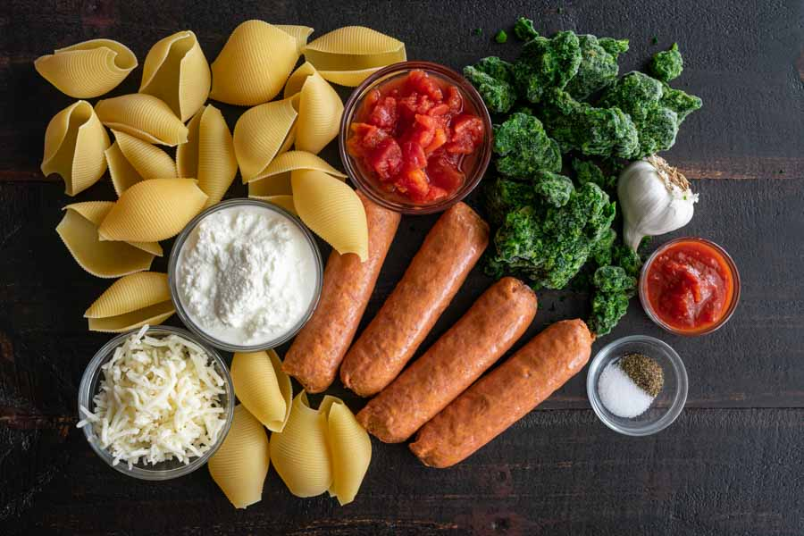 Sausage Stuffed Shells with Spinach Ingredients