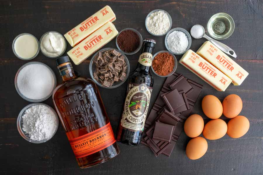 Epic Chocolate Stout Cake with Chocolate Bourbon Sour Cream Frosting Ingredients