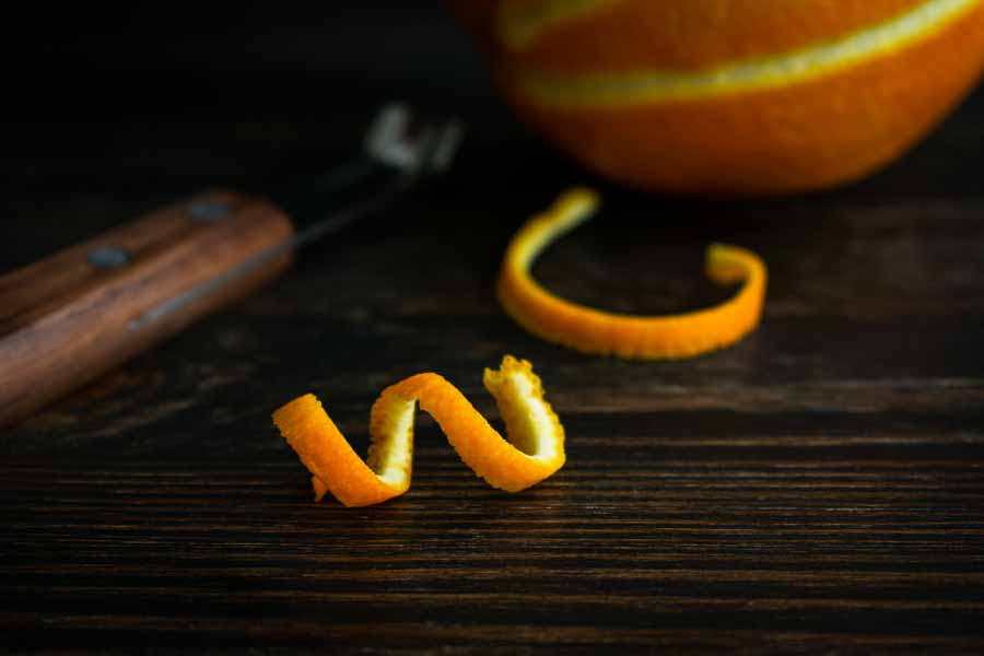 Making the orange twist with a channel knife