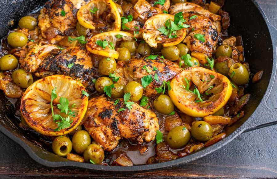 One Pan Moroccan Lemon Olive Chicken