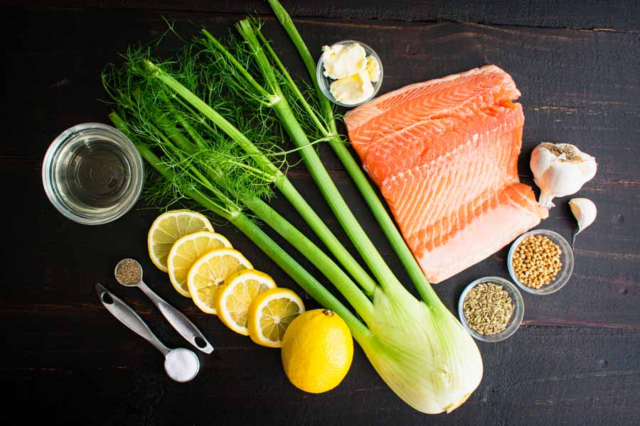 Poached Salmon with Fennel & Lemon Ingredients