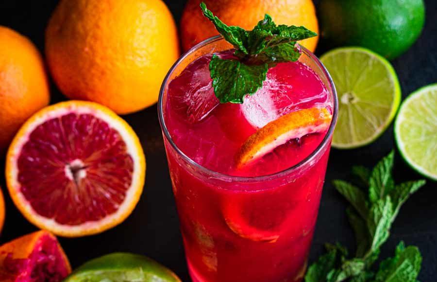 Blood Orange And Raspberry Mojito