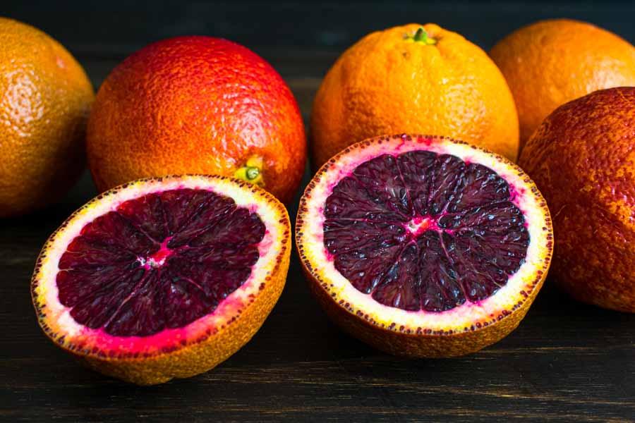 Slicing the blood oranges