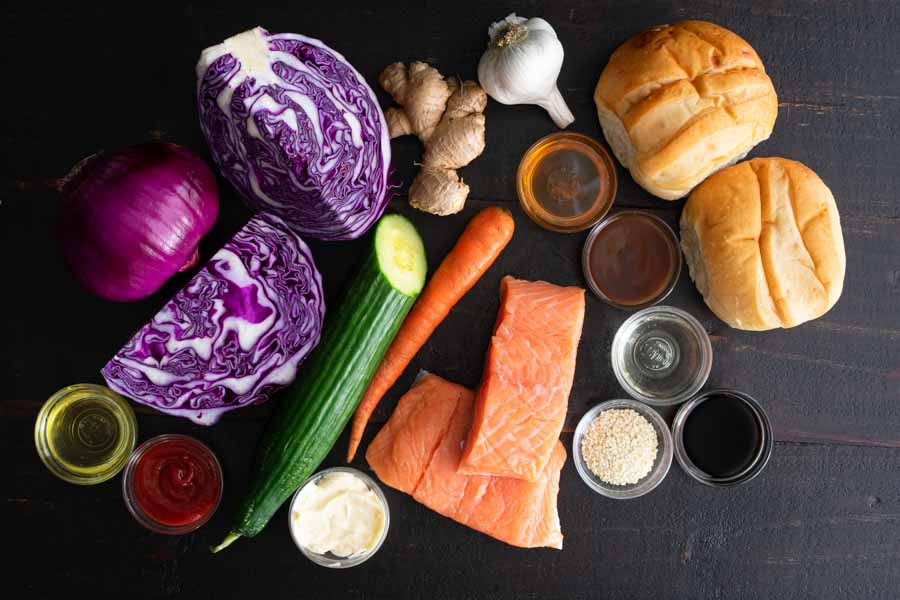 Asian Salmon Sandwiches with Sesame Slaw Ingredients
