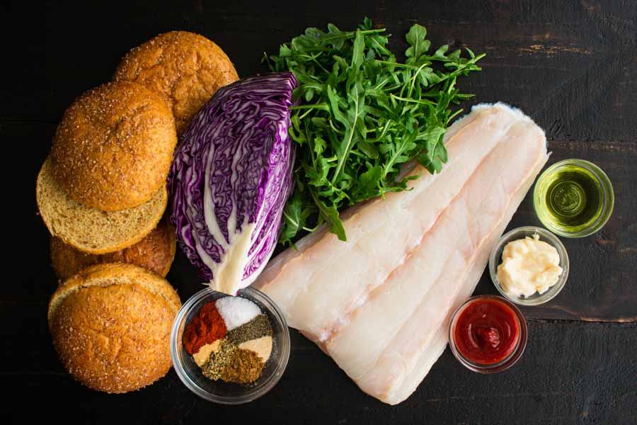 Blackened Fish Burger and Sriracha Mayo Ingredients