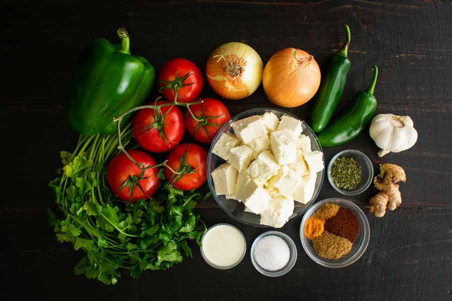 Kadai Paneer Gravy Ingredients