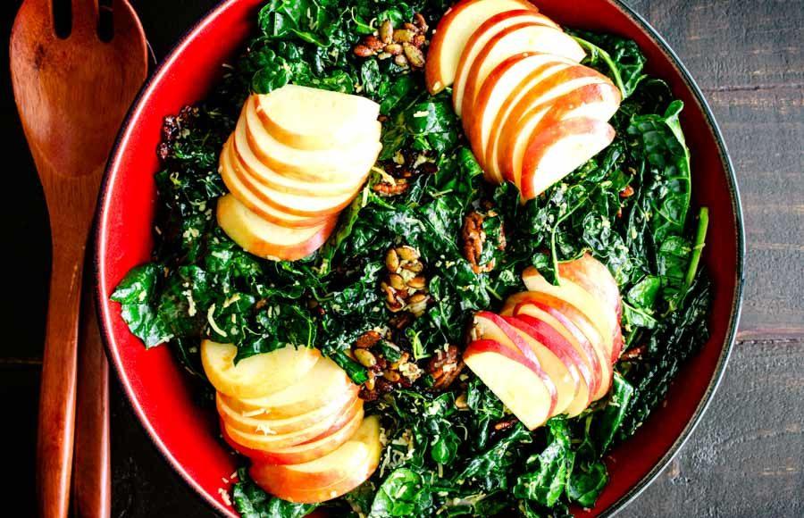 Nutty Harvest Honeycrisp Kale Salad