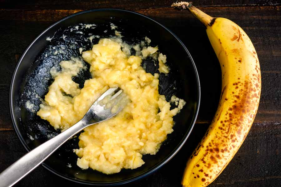 Mash the banana before adding it to the other ingredients